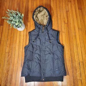 American Eagle Gray Puffer Vest Fur Hood Preppy S